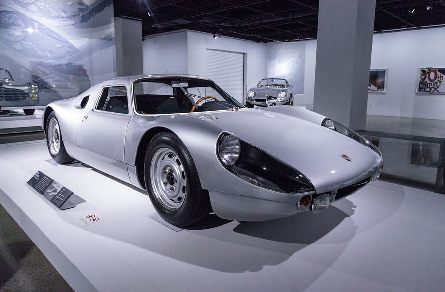 Los Angeles, CA, USA - March 4, 2017: Silver 1964 Porsche 904 Carrera GTS from the collection of Don and Carol Murray at the Petersen Automotive Museum in Los Angeles, California, United States. Editorial only. 1964 904 Antique Antique Car Antique Cars Carrera Carrera GTS Classic Car Day Indoors  No People Old Car Porsche Silver  Sports Car Technology