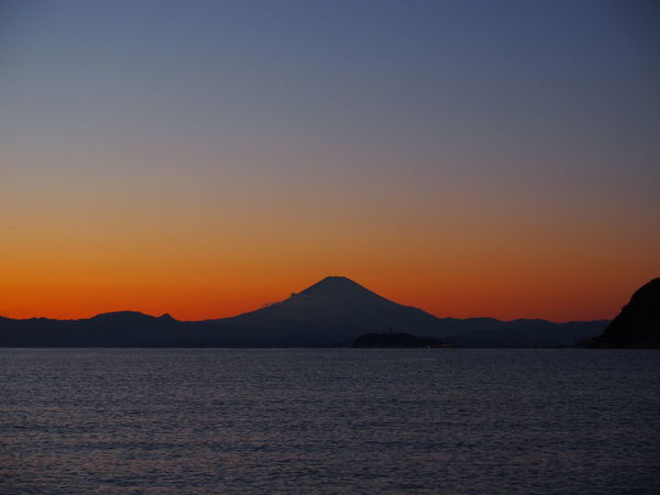 Fuji mt. Zushi Fujimountain Beach Sunset Reflection Tranquility Beauty In Nature Blue Sky Travel Destinations