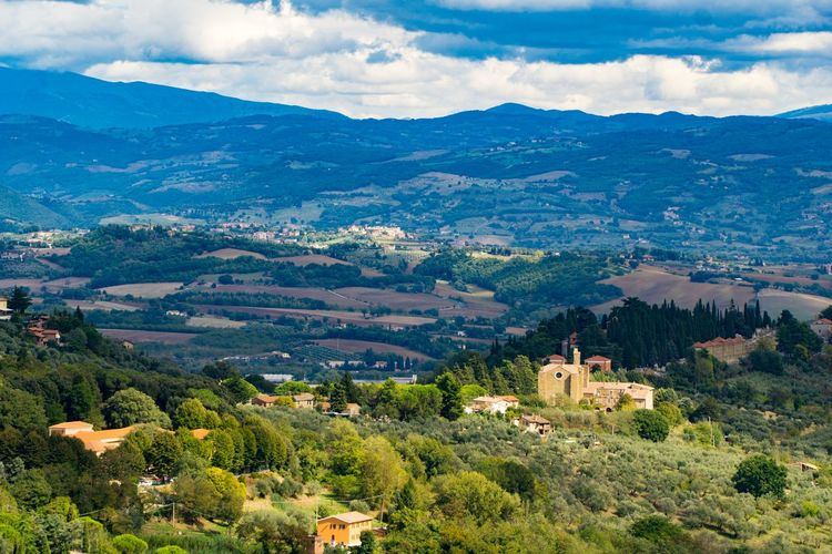 View From Peruga, Italy Hill Towns Architecture Mountain Building Exterior Built Structure Cloud - Sky Sky Building Beauty In Nature Scenics - Nature Tree Place Of Worship City Environment Landscape Religion Travel Destinations Plant Nature No People Town