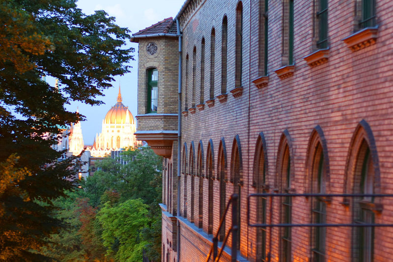 Architectural Feature Architecture Beside Brick Budapest Building Building Exterior Built Structure Day Exterior Façade Growth No People Outdoors Parliamne Sky Taking Photos Travel Destinations Tree View