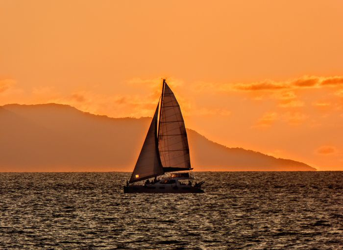 Premium Collection Selected For Premium. Selected For Premium Adventure Dramatic Sky Gold Colored Horizon Over Water Nautical Vessel No People Outdoors Sailboat Sailing Sailing Ship Saturated Color Scenics Sea Sky Sunset Water Yacht Yachting