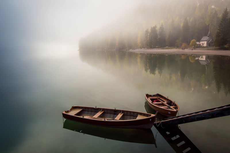 Peace. Reflection Lake Nautical Vessel Water Beauty In Nature Travel Tranquility Fog Transportation Nature No People Outdoors Silence Landscape Scenics Day Idyllic Boat Foggy Trentino  Trentino Alto Adige Braies Lake