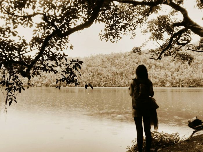 Solitude. Alone Time Back Shot  Tree Sepia Photography Lonely Girl At The Lake Bulusan Lake One With Nature Backpacking Trekking Nature Photography Recollection