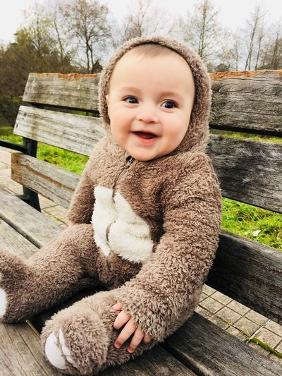 Osezno Disfraz Baby Animal Wood - Material Smiling Seat Outdoors One Person Baby Emotion Teddy Bear