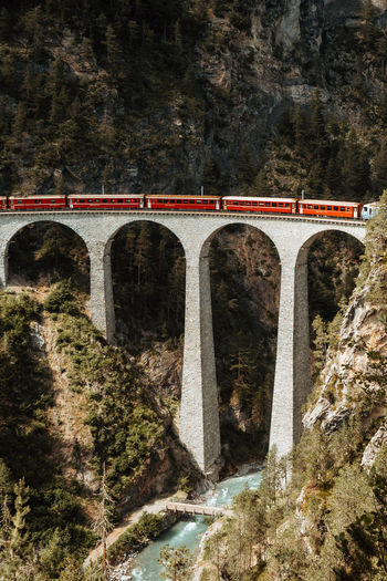 Train on arch bridge by mountains