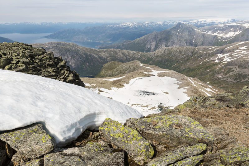 Scenic View From Summit Of Melderskin In The Rosendal Alps Beauty In Nature Cloud - Sky Cold Temperature Day Dramatic Landscape Fjord High Up Idyllic Lake Landscape Majestic Mountain Mountain Range Nature Non-urban Scene Outdoors Remote Rock Formation Scenics Snow Snowcapped Mountain Summer Tranquil Scene Valley Water