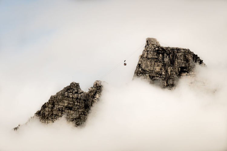 High Angle View Of Cliff Amidst Clouds