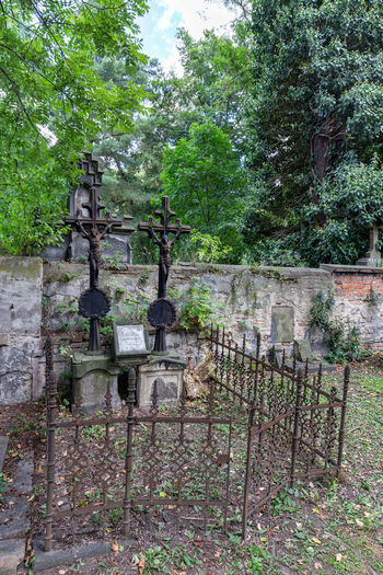 Old stone structure in cemetery