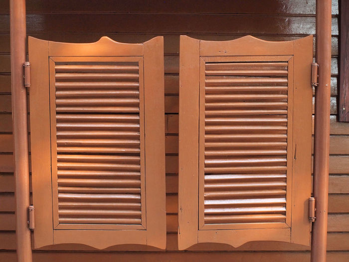 Close-up of closed wooden door of building