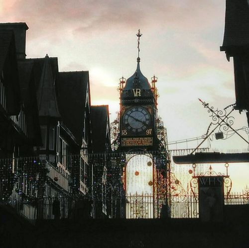 Details of the iron Clock Tower Iron Tower Architecture MedievalTown Silhouette Contrast