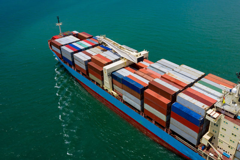 High angle view of containers ship in sea