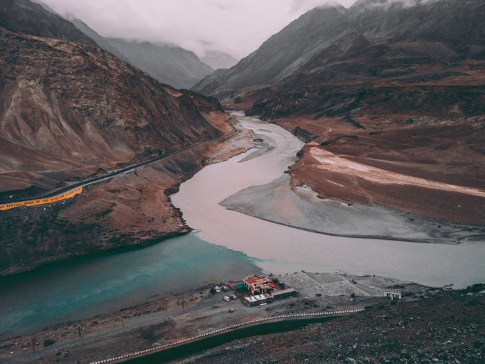 Confluence of 2 rivers Mountain Scenics - Nature Beauty In Nature Environment Landscape Nature Tranquil Scene Day Water Non-urban Scene Tranquility High Angle View Mountain Range Remote River Outdoors No People Transportation Travel Climate
