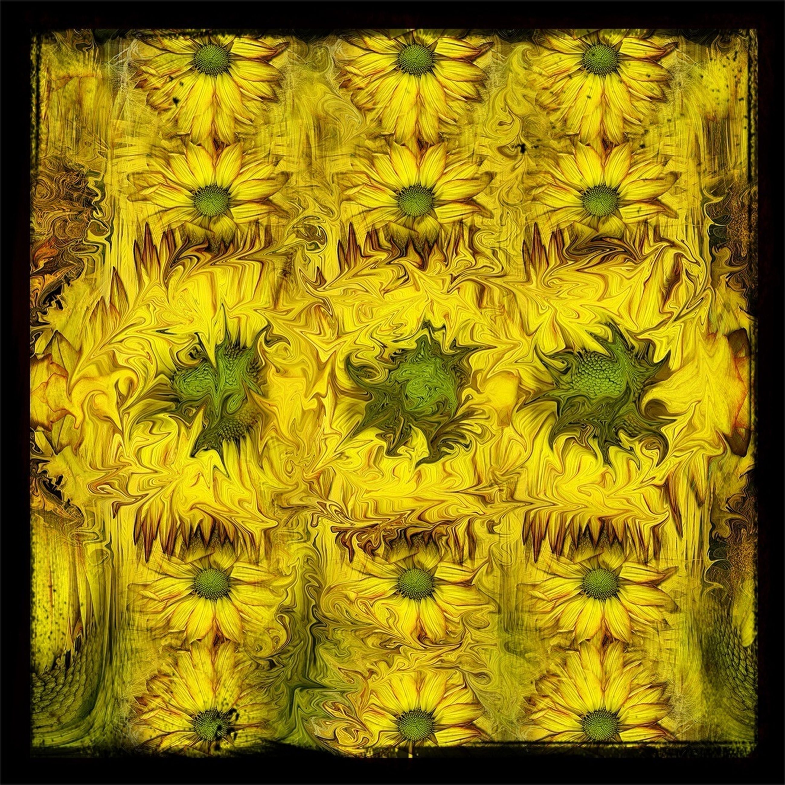 transfer print, yellow, auto post production filter, full frame, flower, backgrounds, growth, wall - building feature, plant, close-up, nature, no people, wall, beauty in nature, textured, outdoors, freshness, day, vibrant color