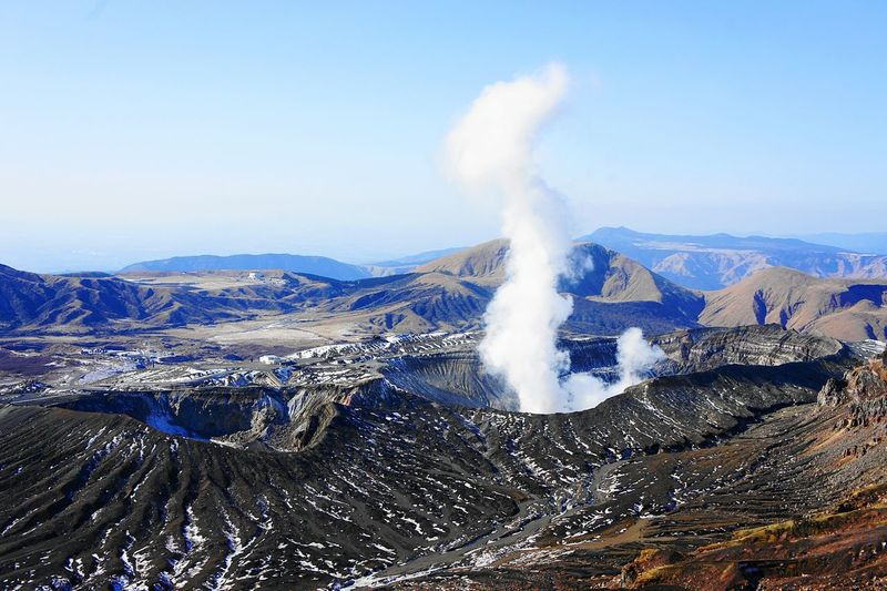 Scenic View Of Smoke Emitting Mount Aso Against Clear Sky