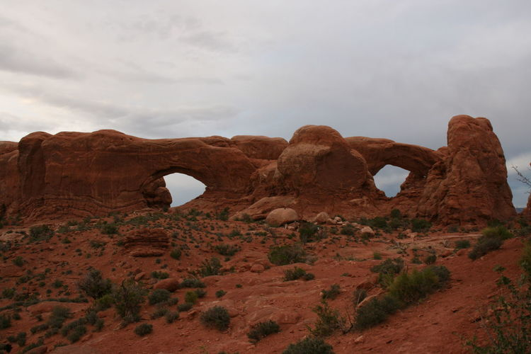 Rock formations against sky at arches national park