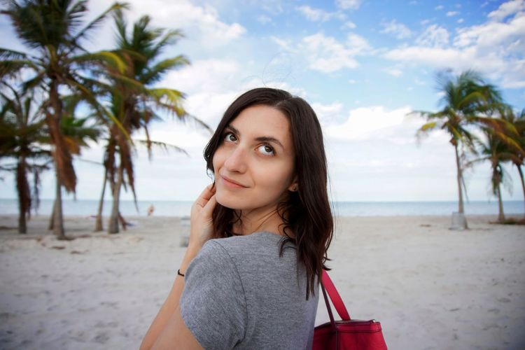 Girl One Young Woman Only Eyes Miami Beach Summer Summertime Sky Hairstyle Smile Outdoor Tree Portrait Palm Tree Sea Beautiful Woman Beach Young Women Beauty Looking At Camera Sand Tropical Tree Tropical Climate Coconut Palm Tree Wave Calm Shore Palm Leaf Coastline Human Back Back My Best Photo
