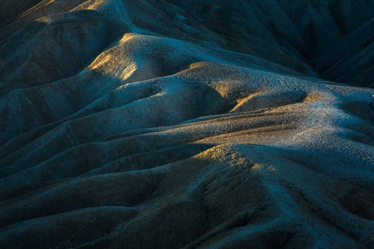 Full frame shot of dramatic landscape at zabriskie point in death valley national park