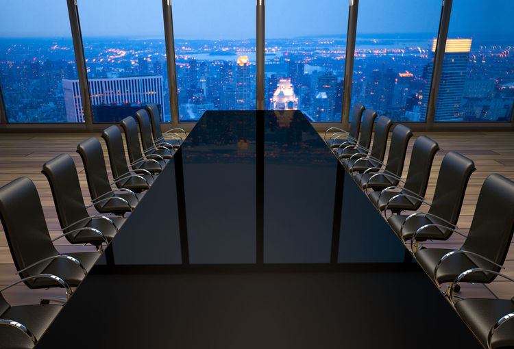 Empty boardroom in an office at New York City BoardRoom New York City Office Chair Empty Indoors  Modern Seat Table Window