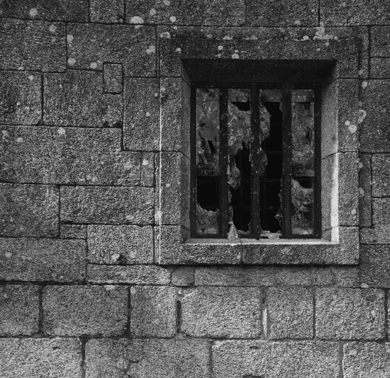 Broken Window Architecture Black Building Exterior Built Structure Close-up Day No People Stone Material Window Window Frame