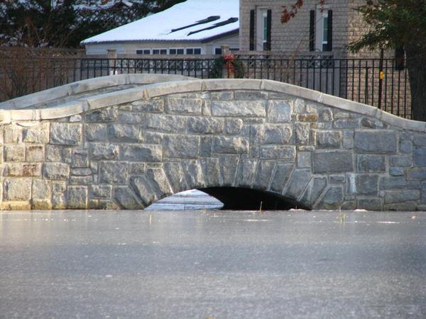 Bridge Cement Bridge Day Frozen Pond No People Outdoors Snow