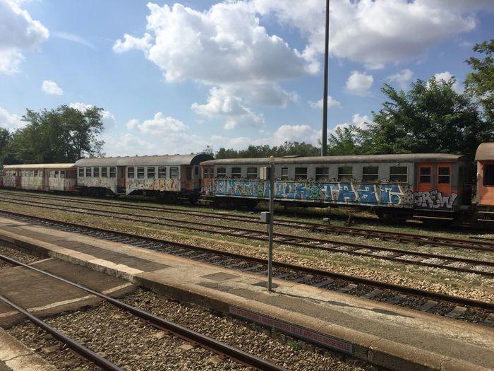 Abadoned Railwagon in Italy (Zollino) Rail Transportation Cloud - Sky Transportation Mode Of Transportation Train Sky Public Transportation