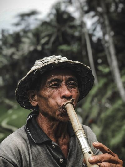 A old man enjoying his own music on the rice terraces of Bali Travel Culture One Person Focus On Foreground Outdoors Front View Music Portrait Arts Culture And Entertainment