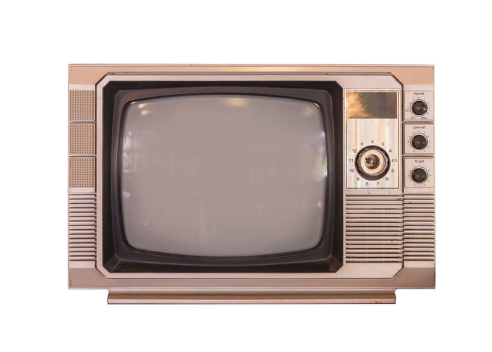 White Background Technology Retro Styled Studio Shot Television Set Old Single Object Cut Out Analog Device Screen Arts Culture And Entertainment Indoors  Screen Obsolete Nostalgia Copy Space The Media No People Electrical Equipment Antique Push Button Blank