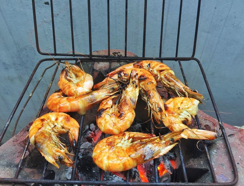Grilling fresh shrimp on hot tray Diet Delicious Dish Lunch Food And Drink High Angle View Freshness Seafood Grilled Wellbeing Healthy Eating Day Metal Grate Grid Preparation