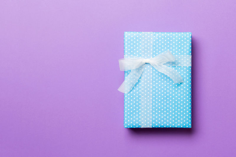 Close-up of open box against blue background