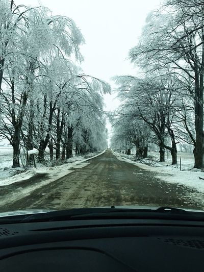 Snow covered road in winter