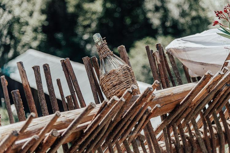 Close-up of wicker basket on field