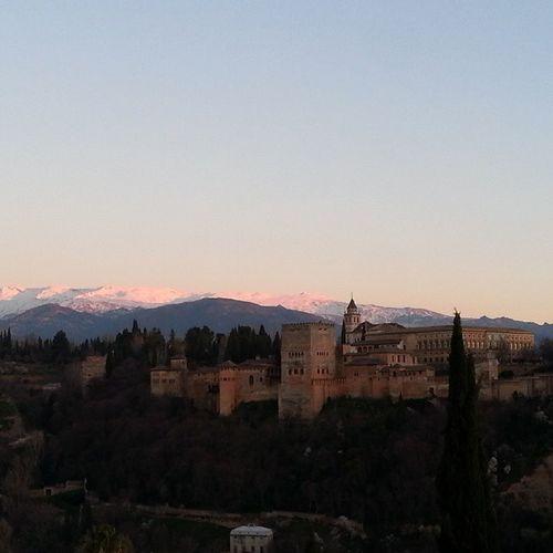 Puestadesol Sunset Sinfiltro Granada Travel Turismo España Alhambra Sierranevada Nieve Montana