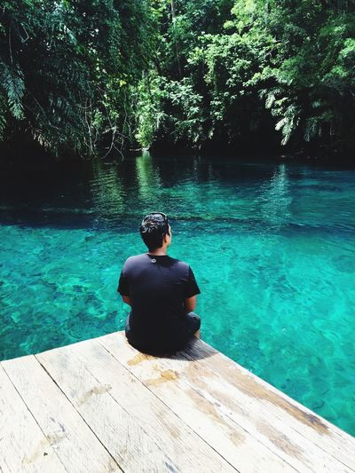 Nature Blue Child Turquoise Colored Day Plant Sitting Tree Men Swimming Pool Relaxation Outdoors