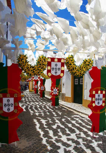decorated street,Redondo village,south of Portugal Portugal Decorated Decorated Facades Decorated Street Flower No People Red Street Village