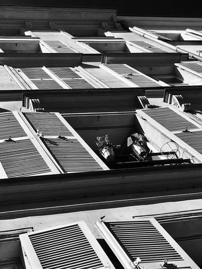 Sunlight Sunny Day Built Structure Architecture Day Building Exterior No People Low Angle View Outdoors Windows Paris France City Lovely Weather ILoveMyCity Blackandwhite Black And White Monochrome Window