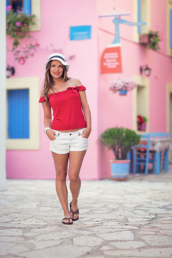 Beautiful young woman in famous town Fiscardo's street Attractive Beautiful Woman Beauty Brunette Casual Clothing Caucasian Cute Fashion Fiscardo Full Length Greece Hat Nice One Person Outdoors People Pink Color Portrait Portrait Of A Woman Red Sexygirl Smiling Street Summer Young Women The Portraitist - 2017 EyeEm Awards EyeEmNewHere Sommergefühle The Fashion Photographer - 2018 EyeEm Awards International Women's Day 2019