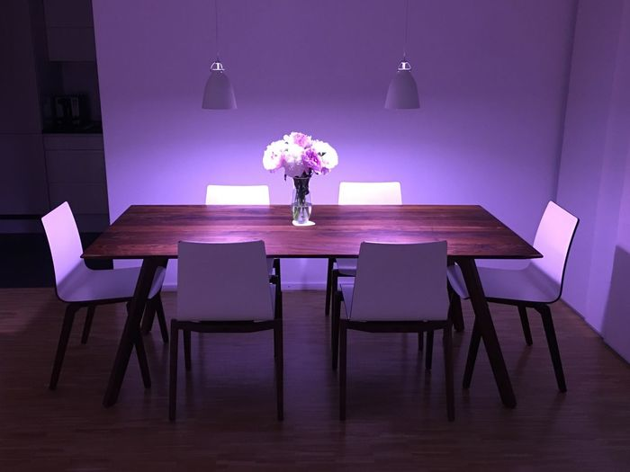 Modern Livingroom PhilipsHue Dining Table Table Indoors  Lamp Shade  Electric Lamp Home Interior Illuminated Chair Flower
