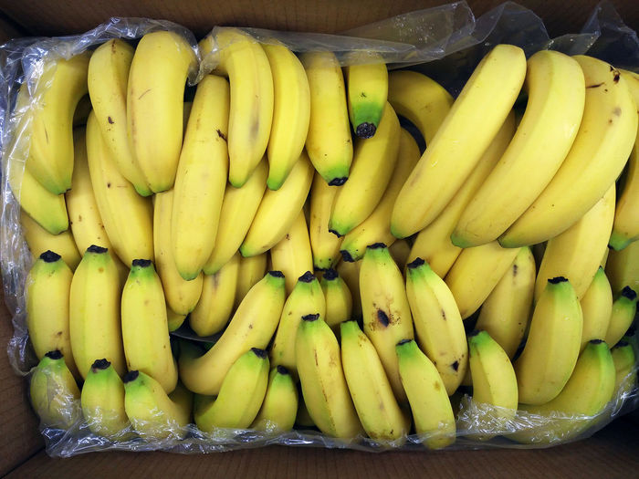 Directly above shot of bananas in box