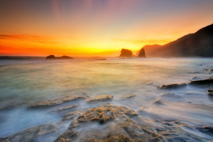 Majestic moment at Papuma beach,Indonesia Beauty In Nature Sky Sea Water Scenics - Nature Land Nature Beach