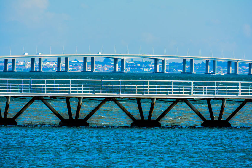 Architecture Built Structure Connection Water Bridge Blue Bridge - Man Made Structure Railing Waterfront Nature No People Sky Transportation Sea Day Clear Sky Outdoors