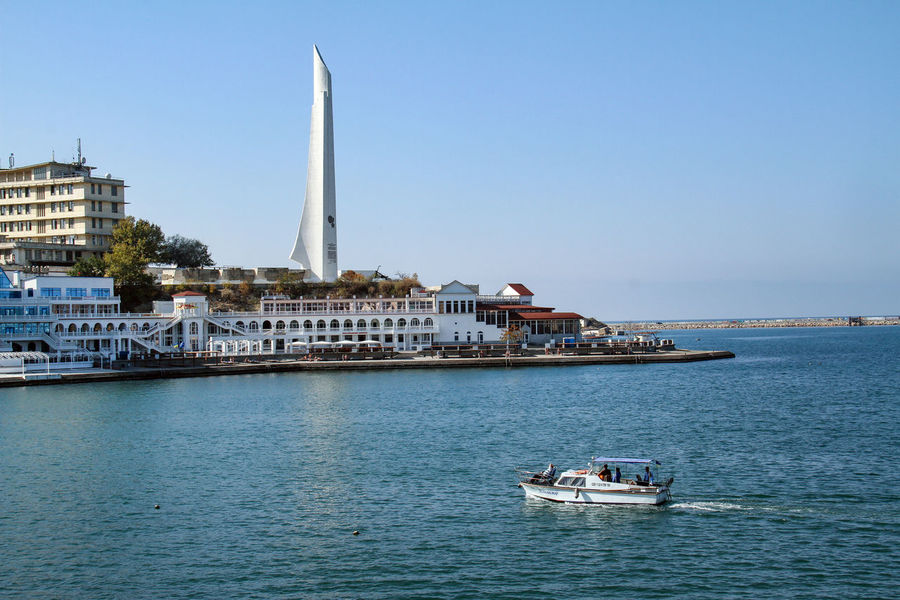Crimea Sevastopol  Architecture Black Sea Building Exterior Built Structure Clear Sky Day Mode Of Transport Monument Nature Nautical Vessel No People Outdoors Sailboat Sailing Sea Sky Transportation Water Waterfront