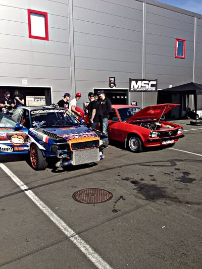 My cousins cars at Anderstorp Raceway Audi Opel Drifting