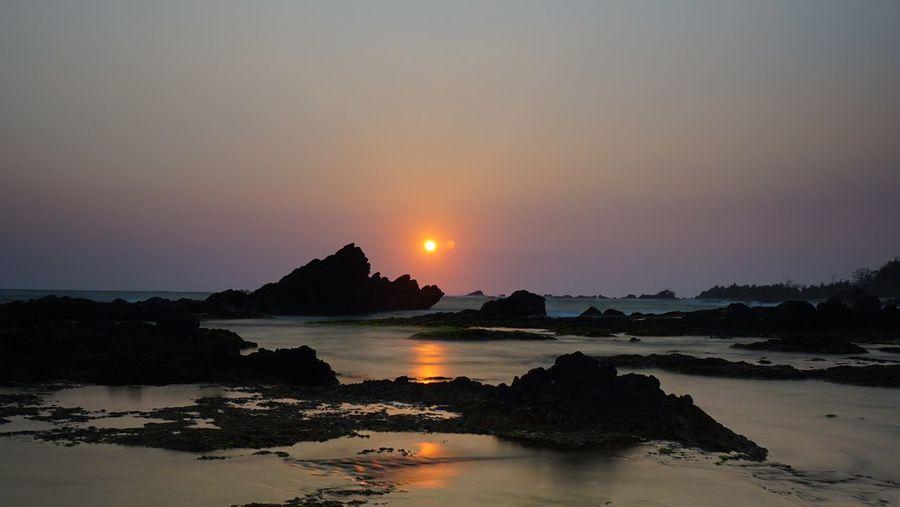 sunset in Karang Bobos beach Banten Sunset Reflection Travel Destinations Landscape Tranquility Horizon Over Water Sea Beach Landscape_Collection Landscape_photography Seaside Seascape