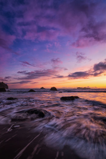 Sunset at Trinidad State Beach, California. Beach Sky Sunset Sea Water Beauty In Nature Scenics - Nature Cloud - Sky Motion Tranquility Horizon Over Water Land No People Horizon Tranquil Scene Nature Long Exposure Idyllic Orange Color Outdoors