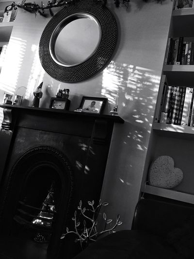 Indoors  Low Angle View No People Day Architecture Bookshelf Black And White Friday Black And White Seasonal Christmas Time Wall Mirror Fireplace Shadow Sunlight And Shadow Natural Light
