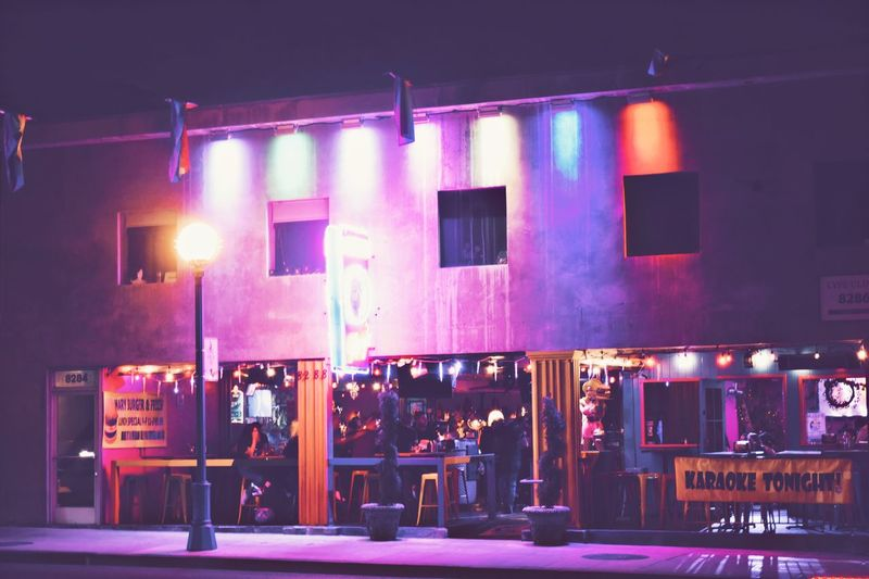 Illuminated Night Building Exterior Architecture Built Structure No People Market Outdoors City Lgbt Clubbing Bar West Hollywood Gays Nightlife Rainbow Colors
