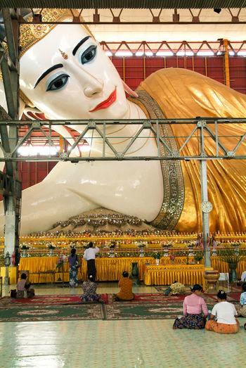 Buddha Pagoda Statue Yangon Buddhism Burma Chaukhtatgyi Day Human Representation Indoors  Myanmar No People Prying Retail  Store Temple