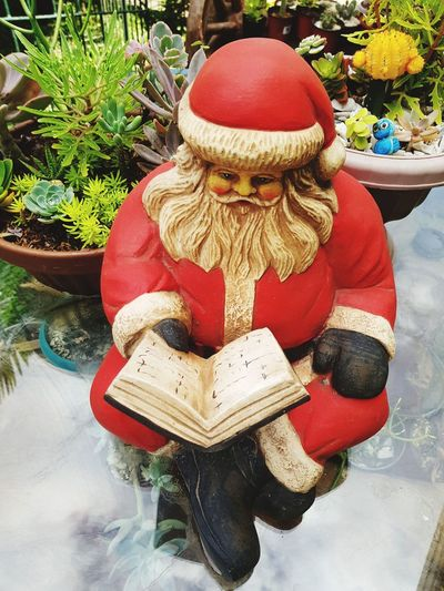 Figurine  Day Red Statue Outdoors No People Close-up Santa Claus Christmas Decorations Making A List Cactus Succulents Red
