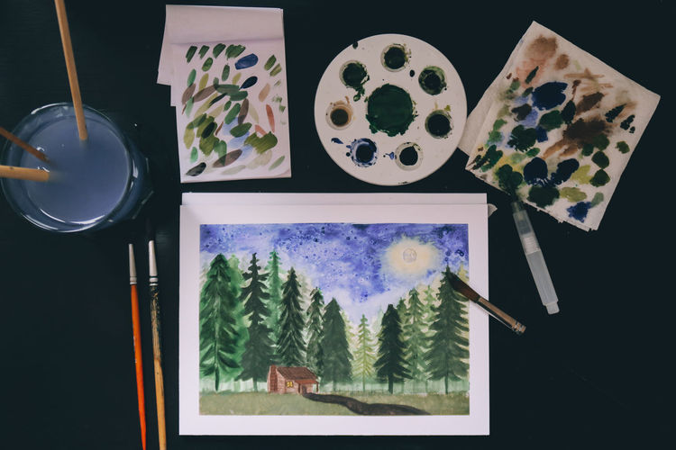 Colors Paint Brush Brushes Cabin In The Woods Close-up Day Draw Drawing High Angle View Indoors  No People Painting Table Watercolor Watercolor Painting