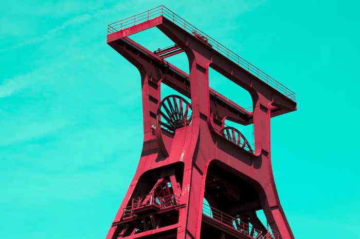 Colored ! Pop Art. Architecture Coal Mine Experiment Low Angle View Old Coal Mine Pop Art Pop Art Photos Sky Popart Winding Tower